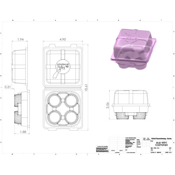 Drawing Mini Cupcake blueprint to be thermoformed for Gigi's Cupcakes