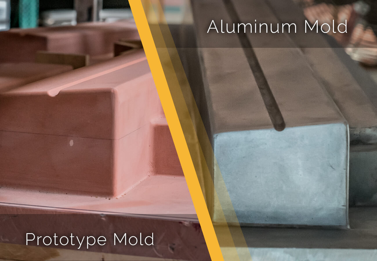 Showing the prototype mold and Aluminum Mold options for thermoforming